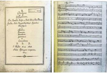 Die Noten von Pater Placidus Andermatt aus der Klosterbibliothek Einsiedeln. Sie sind 1955 wiederentdeckt worden. (Bild PD)
