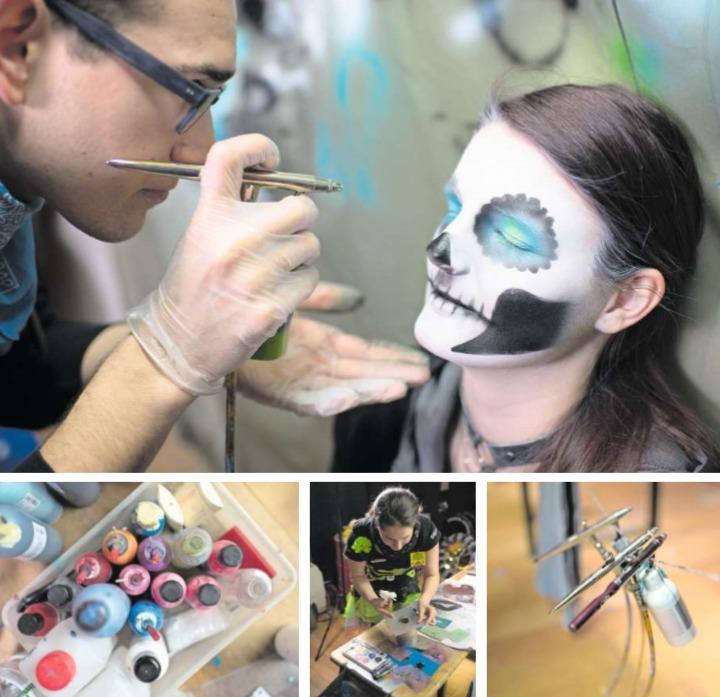 Lea Flühler lässt sich von Pascal Mäder das Gesicht schminken. Dies geschieht mit einer Airbrush-Pistole. Die Schablonen (mittleres Bild) stellen die Mitglieder des Schmink-OK selber her. (Bilder Maria Schmid)