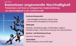 MaxTex Seminar «Basiswissen angewandte Nachhaltigkeit»