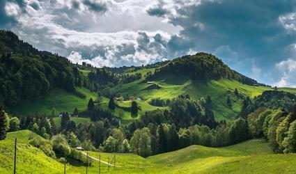 In dieser wunderschönen Appenzeller Hügellandschaft liegt der Bauernhof.