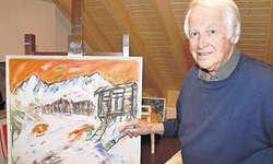 Auf der Staffelei: Im Atelier seines neu erbauten Hauses fügt er Pinselstrich an Pinselstrich. Bild Patrick Kenel