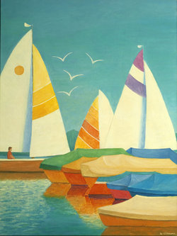 Schiffe auf dem Greifensee, Ölfarben