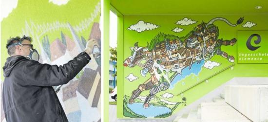 Innert weniger als zwei Tagen schuf Andy Council aus Bristol die Zuger Graffiti-Kuh beim Eingang zur Tagesschule Elementa in Neuheim. (Bilder Claudia Faganini /%20Jakob%20Ineichen%29