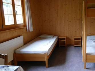 Blick in ein Schlafzimmer.