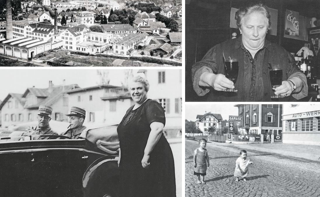 Die Anglo-Swiss Condensed Milk Company (das Bild oben links ist um 1900 entstanden) gehörte zu den wichtigsten Industriebetrieben in Cham. Das Foto oben rechts zeigt Hildi Rickenbacher, letzte Wirtin im Restaurant Ritter, Ende der 1980er-Jahre. Unten rechts ist das Ende der Luzernerstrasse auf Chamer Boden zu sehen, einige Jahre nach deren Pflästerung um 1931. Und schliesslich hoher Besuch: In den 1940er-Jahren besuchte General Henri Guisan (im Bild unten links mit seinem persönlichen Adjutanten André Baumgartner und der «Bären»-Wirtin Rosa Baumgartner-Brandenberg zu sehen) die Ennetseegemeinde. (Bilder PD/Chamapedia.ch)