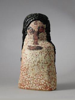 Thomas Schlumpf, zuwebe, Terrakotta-Figur nach dem Gemälde 'Madonna auf violettem Grund' von Hans Schärer