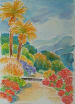 Weg mit Palmen, Aquarell