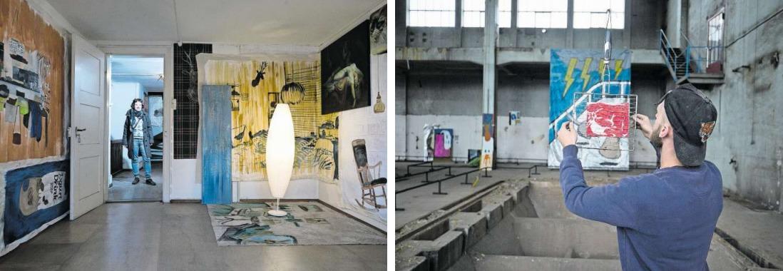 Rahel Scheurer zeigt ihre Arbeiten im oberen Stock des alten Portierhäuschens (links), während Raphael Burger letzte Details seiner Arbeit installiert. (Bild Stefan Kaiser)