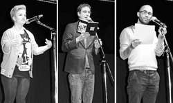 In Slam-Aktion: (v. l.) Olga Schmitz, Sam Hofacher und Simon Chen. Bilder Eveline Corti