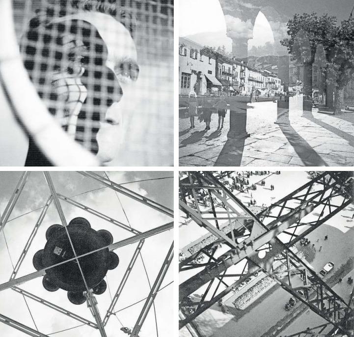 Fotografien des «Neuen Sehens» von Hans Potthof. Oben links: «En face et profil, um 1936; oben rechts: Ascona, um 1937 (Doppelbelichtung); unten links: Glockenturm (Landesausstellung Zürich), 1939; unten rechts: Weltausstellung Paris, 1937. (Bilder Georg Hilbi/Nachlass Hans Potthof)