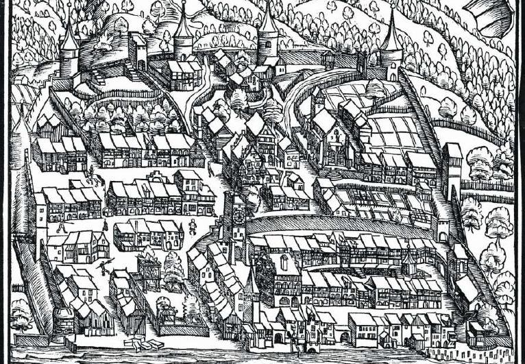 Ansicht der Stadt Zug in der Chronik des Johannes Stumpf 1547. Der Geissweidturm ist der Rundturm am linken Bildrand. (Bild: Stadtarchiv Zug/Amt für Denkmalpflege und Archäologie Kanton Zug)