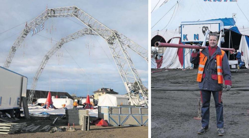 Rund sieben Stunden dauert es, bis das Zelt komplett aufgebaut ist. Franco Knie junior (rechts) ist für die gesamte Logistik verantwortlich. (Bilder Laura Sibold)