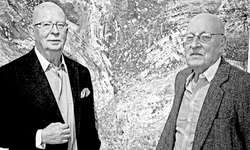Wolf Steiger (links) und Roberto Lauro in der Zürichsee-Galerie. Bild Kurt Kassel