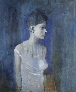 Pablo Picasso Femme en chemise (Madeleine), 1904-1905 Öl auf Leinwand 72,7 x 60 cm London, Tate, Hinterlassen von C. Frank Stoop, 1933 © Succession Picasso / 2018, ProLitteris, Zürich Foto: © Tate, London 2018