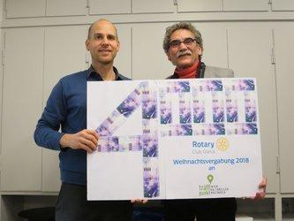 «träffpunkt»-Präsident Philipp Langlotz und Rotary-Präsident Hermann Mathis (v.l.n.r.)
