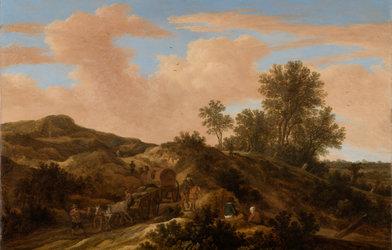 Pieter Moljin, Dünenlandschaften mit Pferdefuhrwerken, 1645, Öl auf Holz