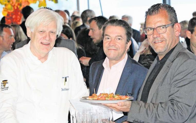 Die Macher des Zuger Genuss-Film-Festivals: Stefan Meier, Ulrich Straub und Matthias Luchsinger (von links). (Bild Charly Keiser)