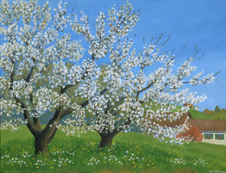 Blühende Kirschbäume, Ölfarben