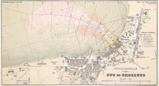 Der Situationsplan von Zug und Umgebung zeigt die Rutschung vom 5. Juli 1887. (Bild PD/Museum Burg Zug)