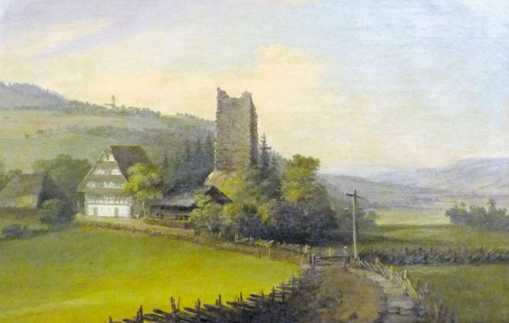 Caspar Wolf malt die Ruine der Burg Hünenberg und das «Burghaus» um zirka 1780. (Bild Murikultur/PD)