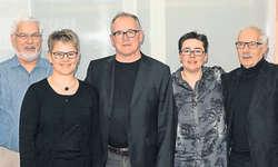 Neu im Vorstand/Musikkommission: Ruedi Gilli (von links), Solveig Scherrer, Urs Gisler. Yvonne Sabater und Edi Weber haben ihren Rücktritt bekannt gegeben. Bild zvg