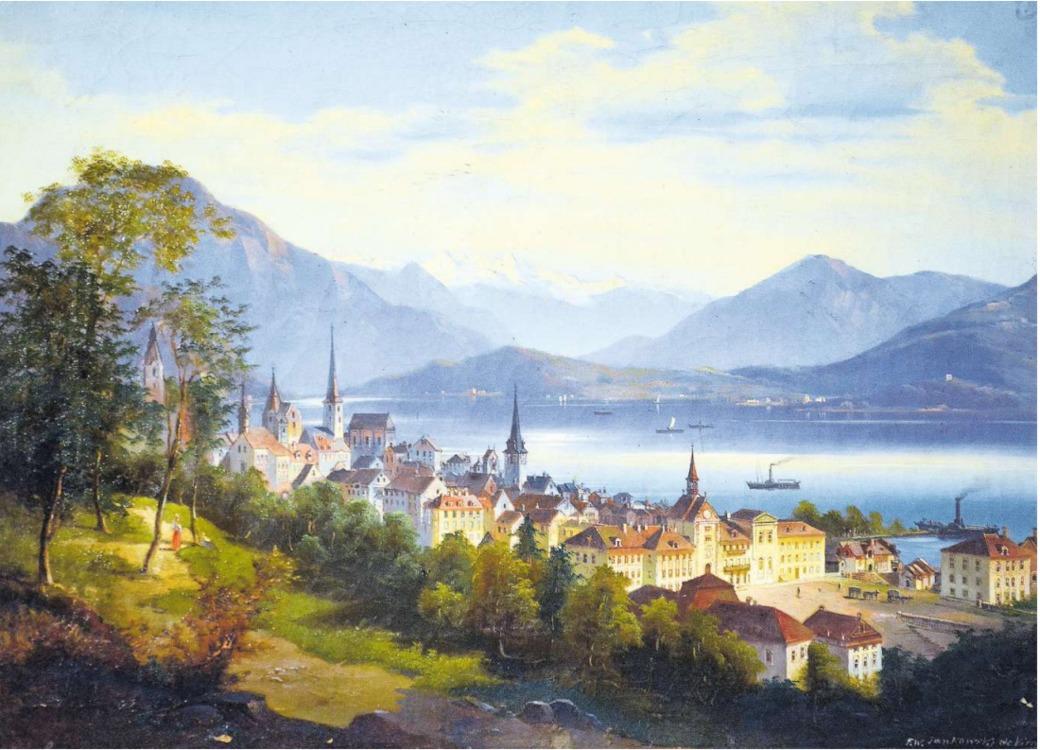 So sah der Maler Johann (Friedrich) Wilhelm Jankowski in den 1860er-Jahren die Stadt Zug. Unten rechts hat er sein Gemälde mit F. W. Jankowski signiert. (Bild Andreas Faessler)