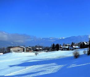 La vue du balcon direction Interlaken