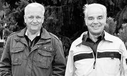 Die beiden ältesten Mitglieder der Harmoniemusik Schübelbach-Buttikon: August Benz (links) und Anton Hasler. Bild Irene Lustenberger
