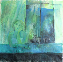 Sie sind gegangen, laut, fröhlich, berauscht. Jetzt – Stille – das frühe Licht     Acrylfarben, 150 x 160 cm