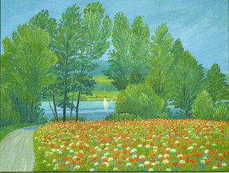 Mohnfeld am Greifensee, Ölfarben