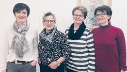 Für langjährige Treue geehrt (von links): Gaby Kälin (30 Jahre), Margrit Kälin (40 Jahre), Marlies Kauflin (50 Jahre), Myrta Kaufmann (30 Jahre). Foto: zvg