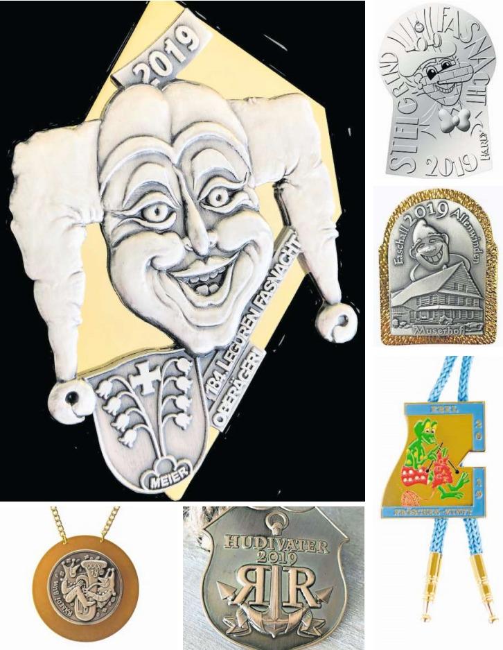 Eine Auswahl von Zuger Fasnachtsplaketten (im Uhrzeigersinn von oben links): Oberägeri, Steinhausen, Allenwinden, Inwil, der Fasnachtspin aus Walchwil und Baar. (Bilder PD)