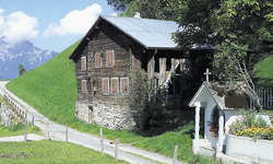 Eines der ältesten Holzhäuser Europas wird verkauft: Es steht auf der Liegenschaft Tannen, zwischen Morschach und Sisikon. Bild Ernst Immoos