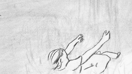 Marion Nyffenegger, «fallen lassen», 2019, Kohle auf Papier, 29,7 × 42 cm, Zeichnung für den Animationsfilm «Das Leben ist eines der Leichtesten» © Marion Nyffenegger