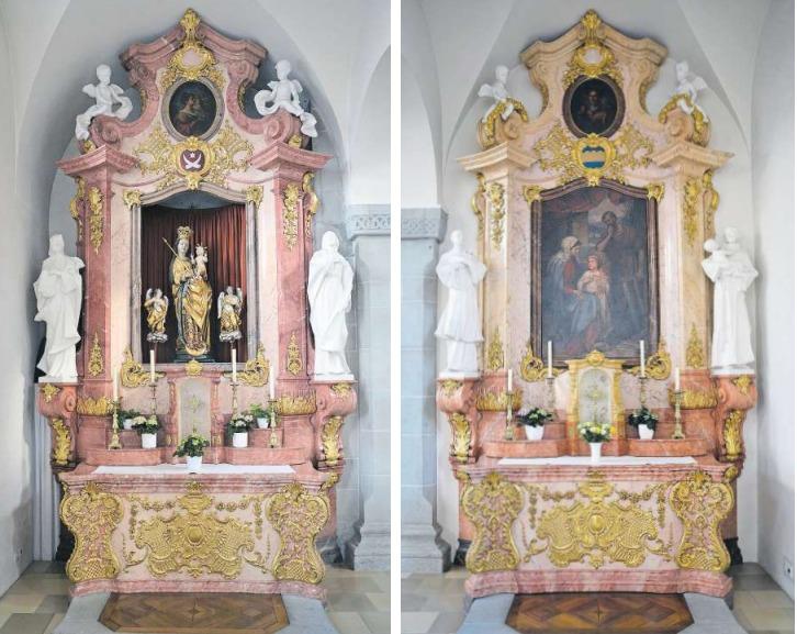 Die beiden Neorokoko-Seitenaltäre aus rötlichem Stuckmarmor in der Kirche des ehemaligen Damenstifts Schänis SG stammen von der Zuger Firma Zotz & Griessl. Sie sind in den Jahren 1910/11 gebaut worden. (Bild Andreas Faessler)