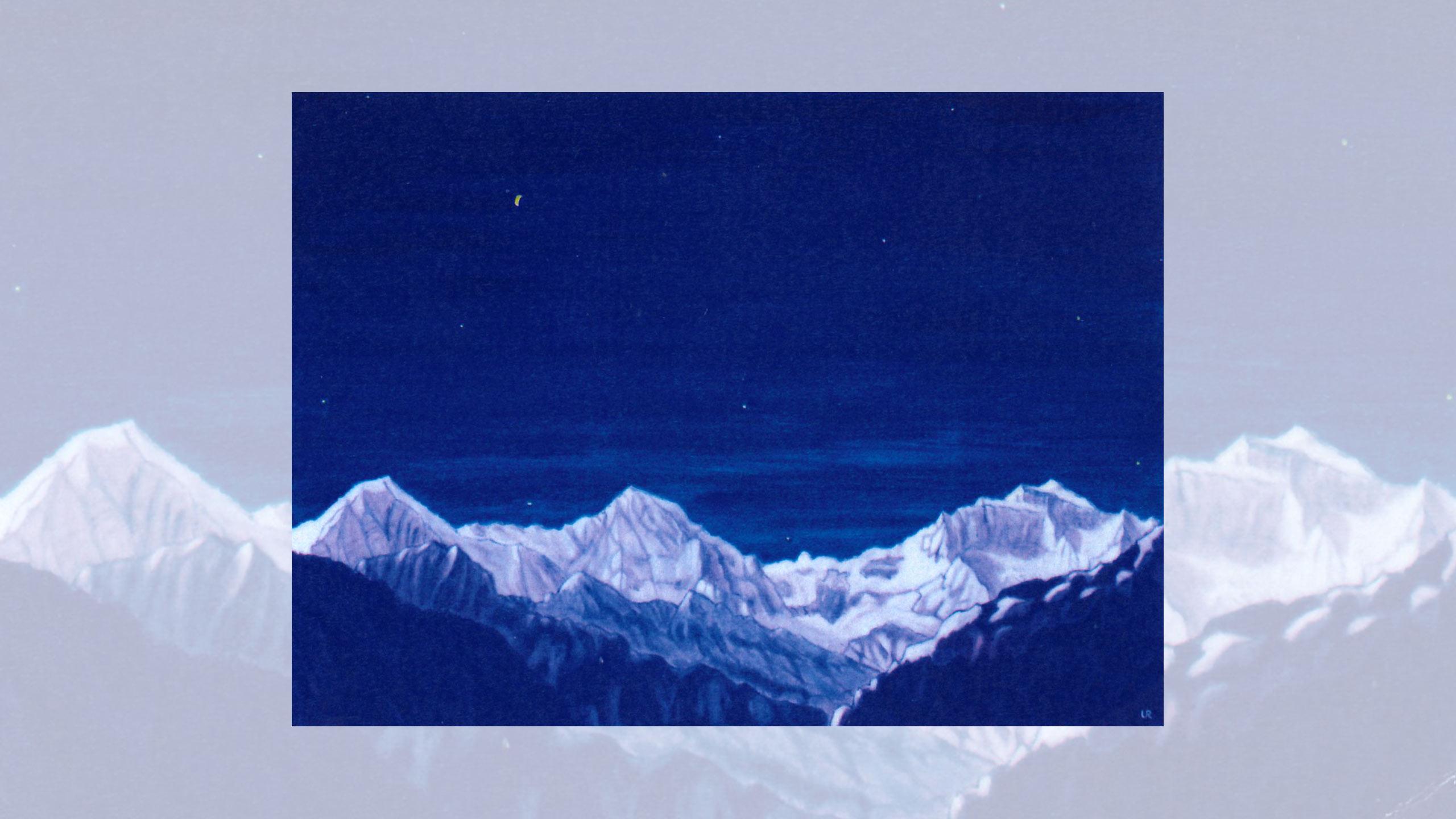 Symbolische Gestaltung in Blau, Weiss und Rot