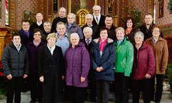 Die Mitglieder des Kirchenchores Egg am letzten Sonntag, anlässlich des 85. Geburtstags. Bild Franz Kälin