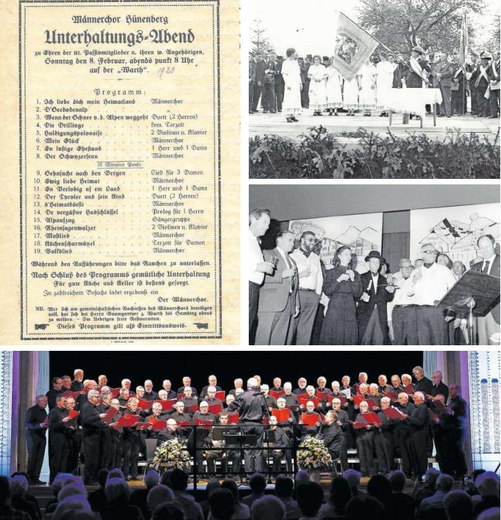 Der erste Unterhaltungsabend fand am 8. Februar 1920 statt (oben links). Das Bild oben rechts zeigt die Fahnenweihe auf dem Lindenplatz 1935. Louise Pauli (mittleres Bild) dirigierte den Männerchor von 1983 bis 1992. Das untere Bild zeigt den Chor beim Laetare-Konzert mit den Männerchören Zug und Cham im März 2018 im Casino Zug. (Bilder Werner Schelbert/PD)