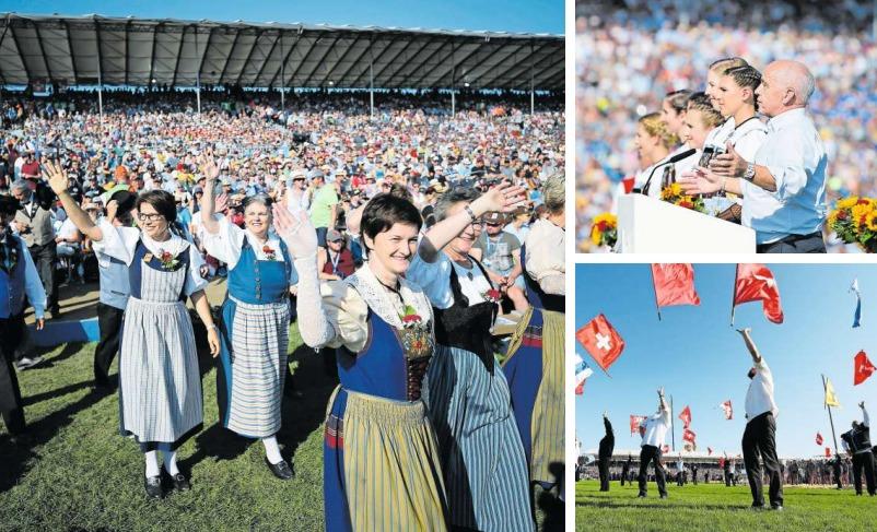 Trachtenfrauen beim Festakt in der Zug-Arena (grosses Bild), Bundespräsident Ueli Maurer (oben rechts) sprach über Tradition und Moderne, beim Fahnenschwingen (unten rechts) sind die Schweizer Kantone alle vereint. (Bilder Stefan Kaiser)