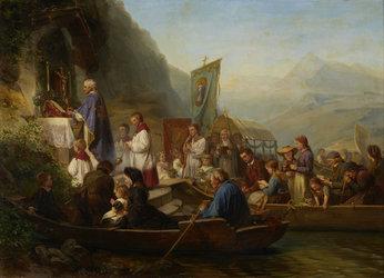 Raphael Ritz, Gottesdienst in der Bittwoche, 1863, Öl auf Leinwand, 94 x 130,5 cm