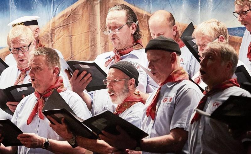 Der Männerchor Hagendorn bei ihrem Konzert am Mittwoch in der Mehrzweckhalle. (Bild Jakob Ineichen)