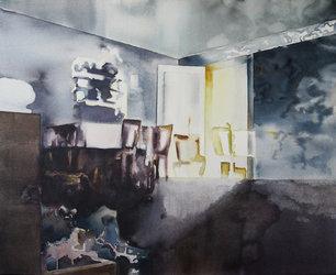 Helena Wyss-Scheffler, 2016, Im Licht des Abends, Gouache und Aquarelle auf Baumwolle, 80x100cm