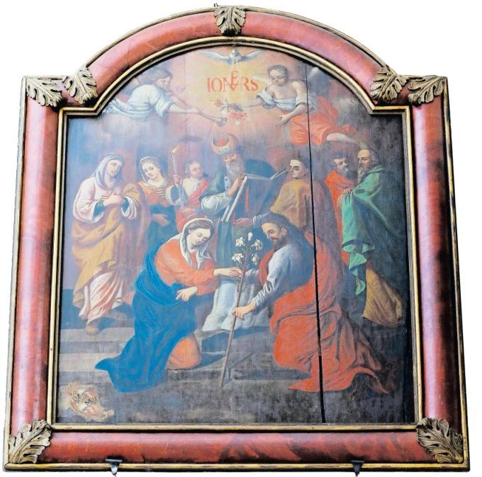 Ein inniger Akt: Maria reicht ihrem Verlobten Josef von Nazareth die Hand. Das Motiv ist heute vergleichsweise selten mehr anzutreffen. Das barocke Gemälde in der Kapelle in der Löberen ist ein schönes Beispiel. (Bild Stefan Kaiser)