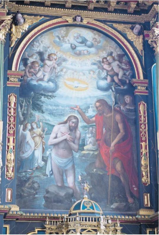 Es gehört zu den kostbarsten und qualitätvollsten Sakralkunstwerken der Zentralschweiz: die «Taufe Jesu» von Bruder Seraphin Schön in der Pfarrkirche von Menzingen. (Bild Maria Schmid)
