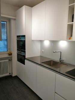Küche mit Backofen/Mikrowelle und Steamer