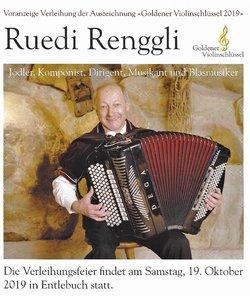 Goldener Violinschlüssel 2019 für Ruedi Renggli