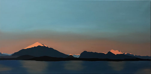 Sonnenaufgang am Thunersee, Oel auf Leinwand, 40 x 80 cm