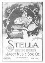 amerikanische Reklame für eine Stella-Plattenspieldose der Firma Mermod Frères, Ste-Croix
