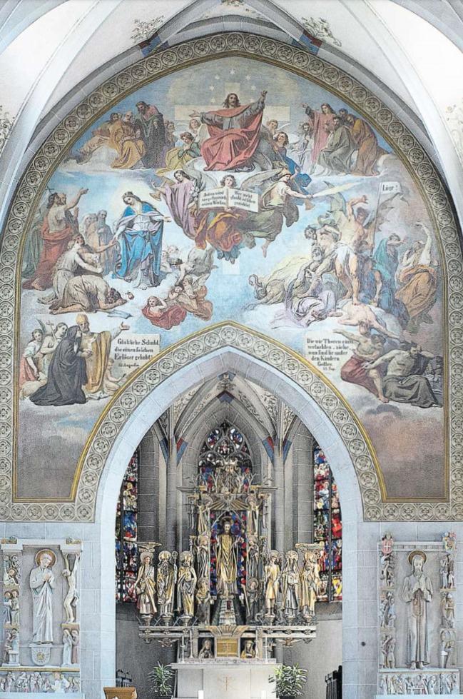 Monumental: Melchior Paul von Deschwandens «Jüngstes Gericht» in der Kirche St. Oswald. (Bild Maria Schmid)