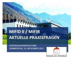MiFID II/MiFIR - Aktuelle Praxisfragen